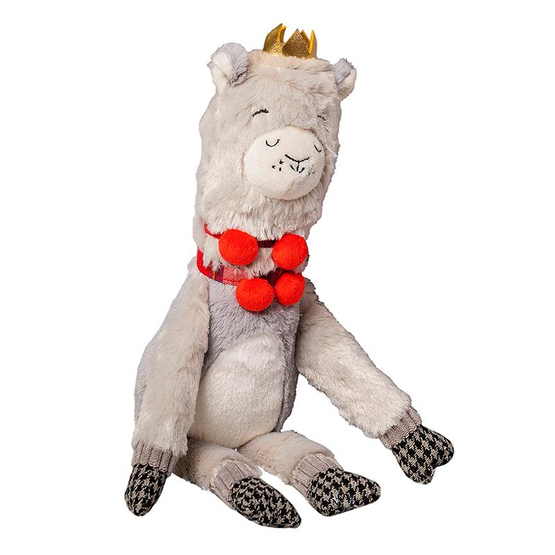 House of Paws Christmas Majestic Crown Plump Plush Llama Dog Toy