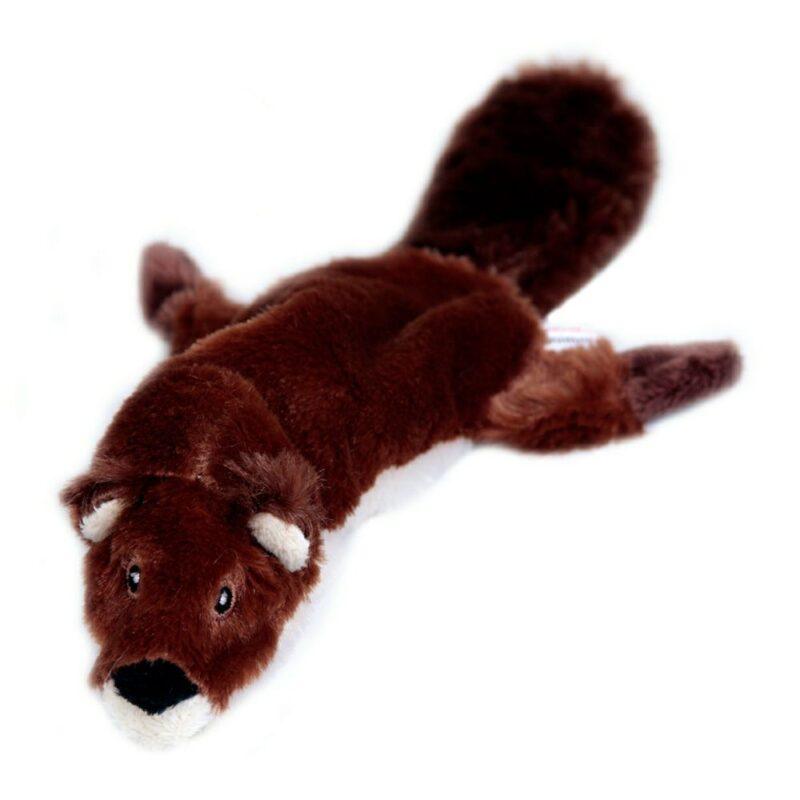 Animate Beaver Flat Friend Unstuffed Dog Toy Large