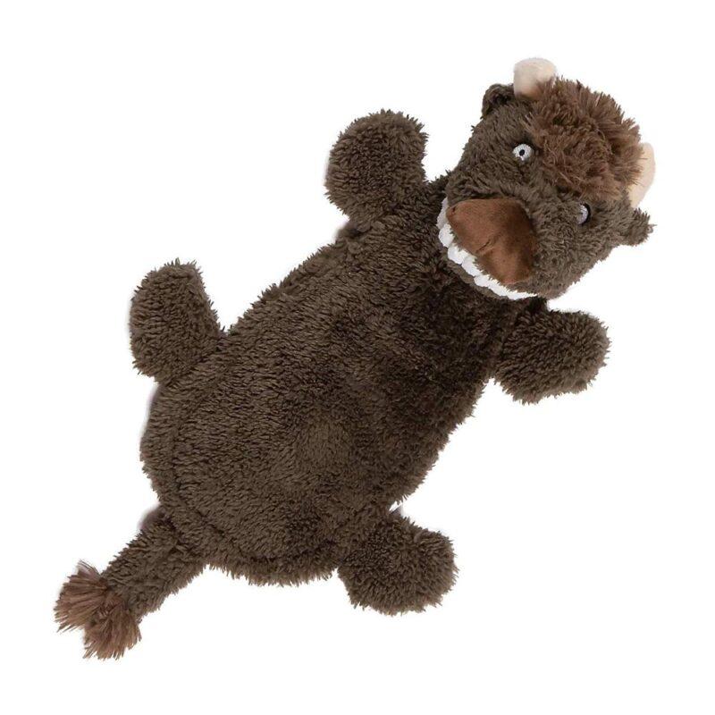 Animate Big Teeth Stuffed Head Buffalo Squeaky Dog Toy