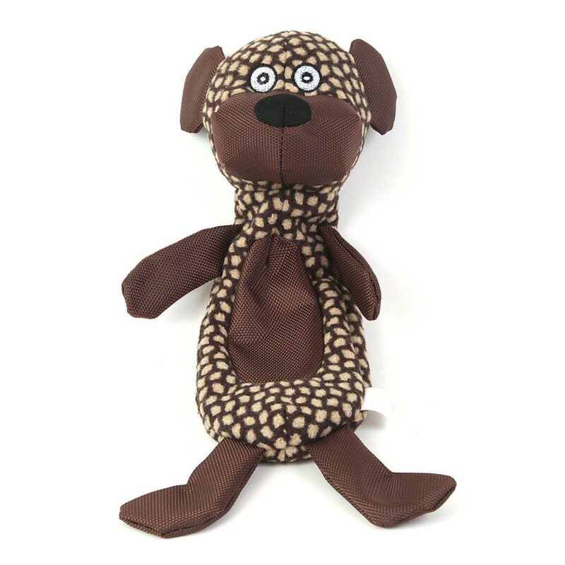 Animate Brown Dog Crinkle Fabric Squeaky Dog Toy