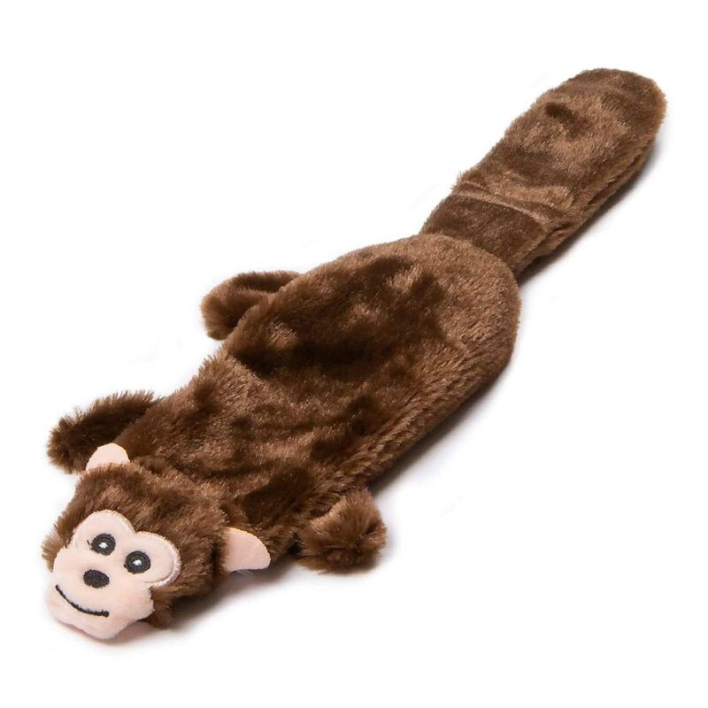 "Animate Brown Monkey Flat Friend 15"" Multi Squeaker Dog Toy"