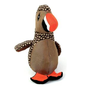 Animate Brown Puffin Bird Dog Toy with Squeaker