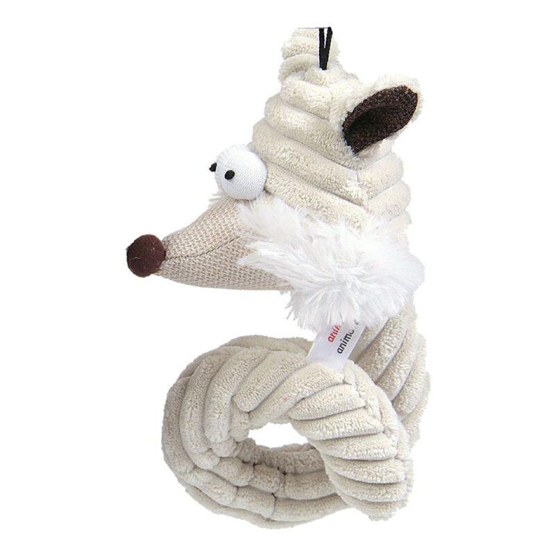 Animate Cream Cord Curly Fox Head Dog Toy