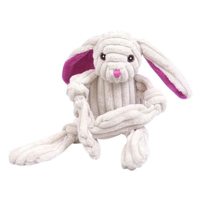 Animate Cream Jumbo Cord Rabbit Squeaky Dog Toy
