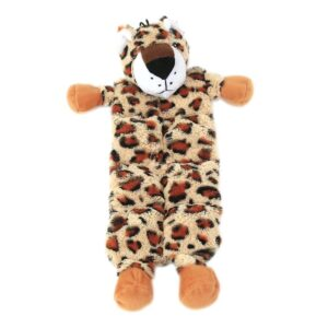 Animate Flat Leopard Dog Toy with Multi Squeakers