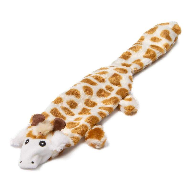 "Animate Giraffe Flat Friend 15"" Multi Squeaker Dog Toy"