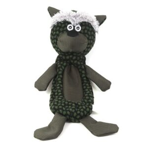 Animate Green Cat Crinkle Fabric Squeaky Dog Toy