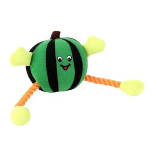 Animate Green Humbug Ball Rope Dog Toy with Squeaker