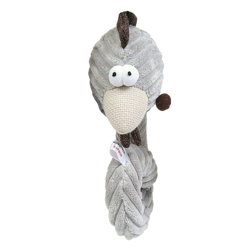 Animate Grey Cord Curly Cockerel Head Dog Toy