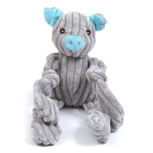 Animate Grey Jumbo Cord Pig Squeaky Dog Toy