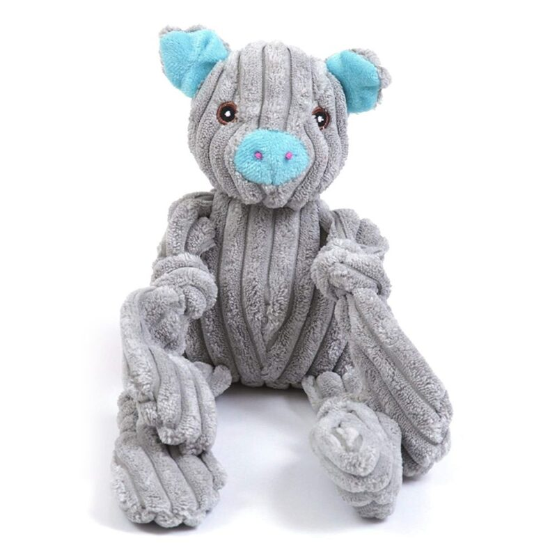 Animate Grey Jumbo Cord Pig Squeaky Dog Toy
