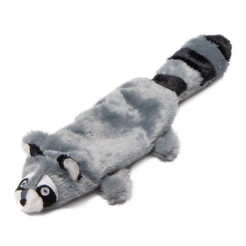 """Animate Grey Racoon Flat Friend 15"""" Multi Squeaker Dog Toy"""