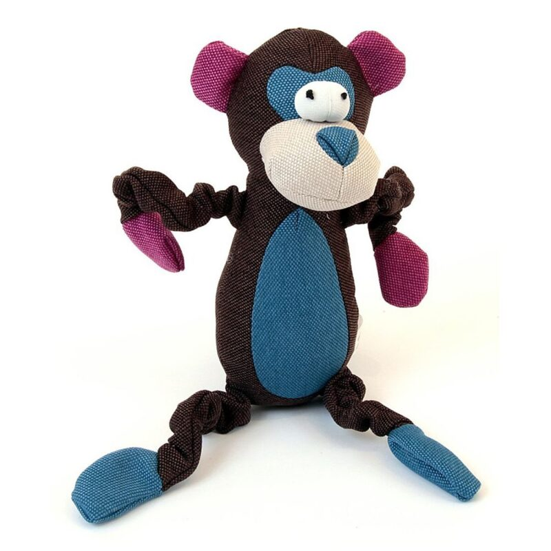 Animate Monkey Dark Brown Canvas Squeaky Dog Toy