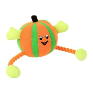Animate Orange Humbug Ball Rope Dog Toy with Squeaker