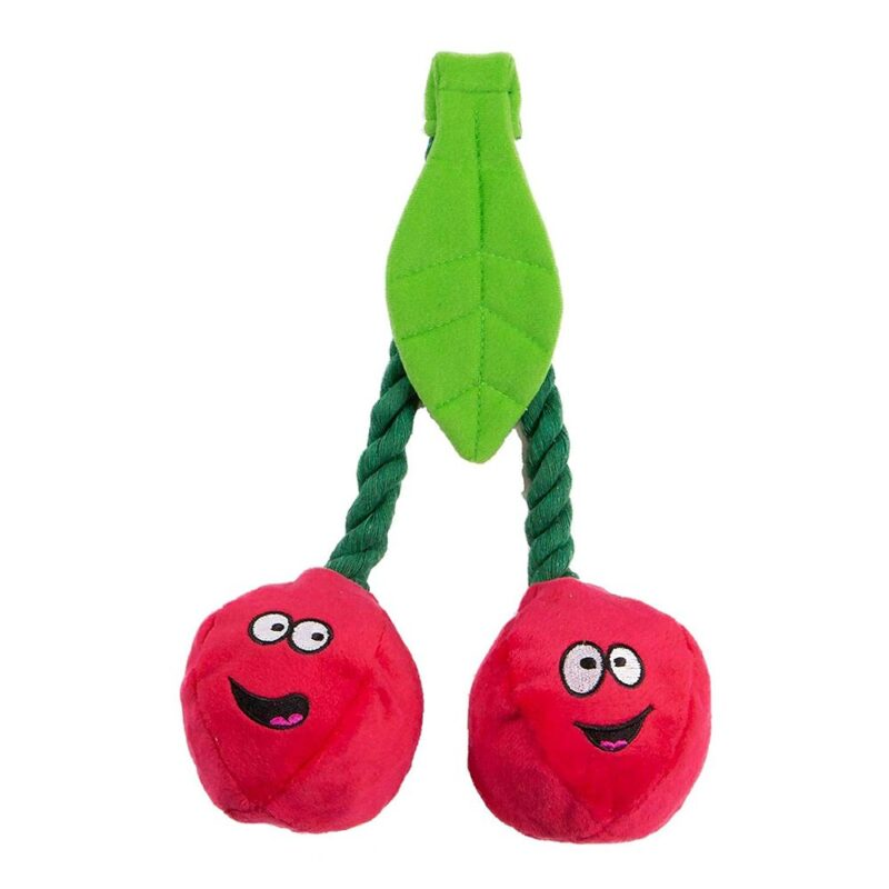 Animate Plush Cherries on Rope Squeaker Dog Toy
