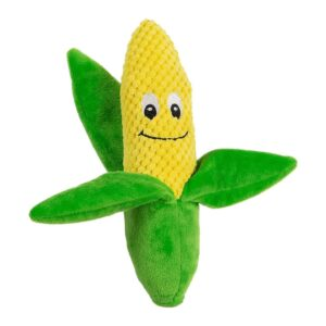 Animate Plush Corn on the Cob Squeaker Dog Toy