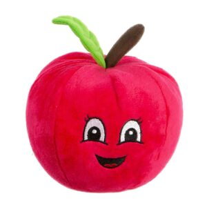 Animate Plush Red Apple Squeaker Dog Toy