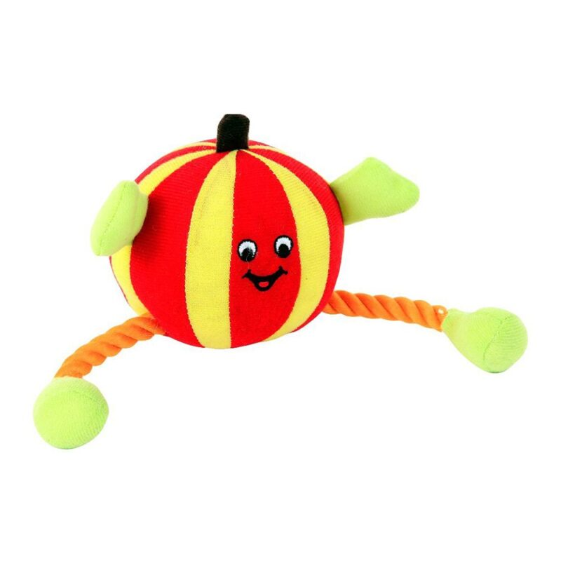 Animate Red Humbug Ball Rope Dog Toy with Squeaker