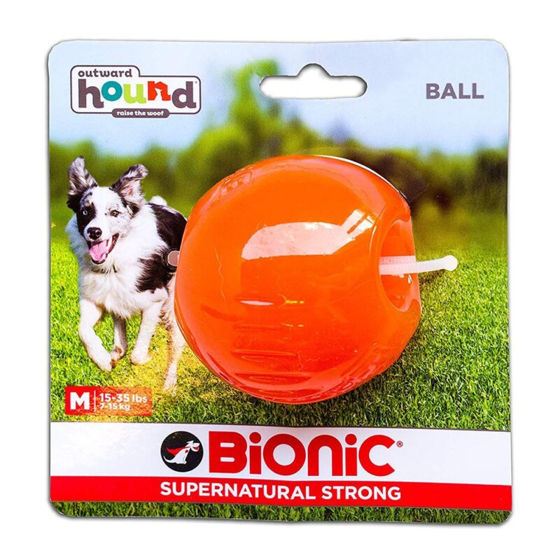 Bionic Ball Orange Durable Dog Treat Toy Medium
