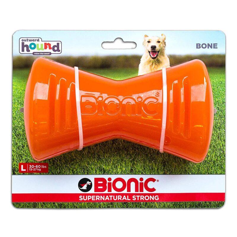 Bionic Bone Orange Durable Dog Treat Toy Large