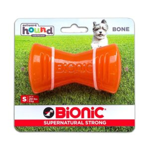 Bionic Bone Orange Durable Dog Treat Toy Small