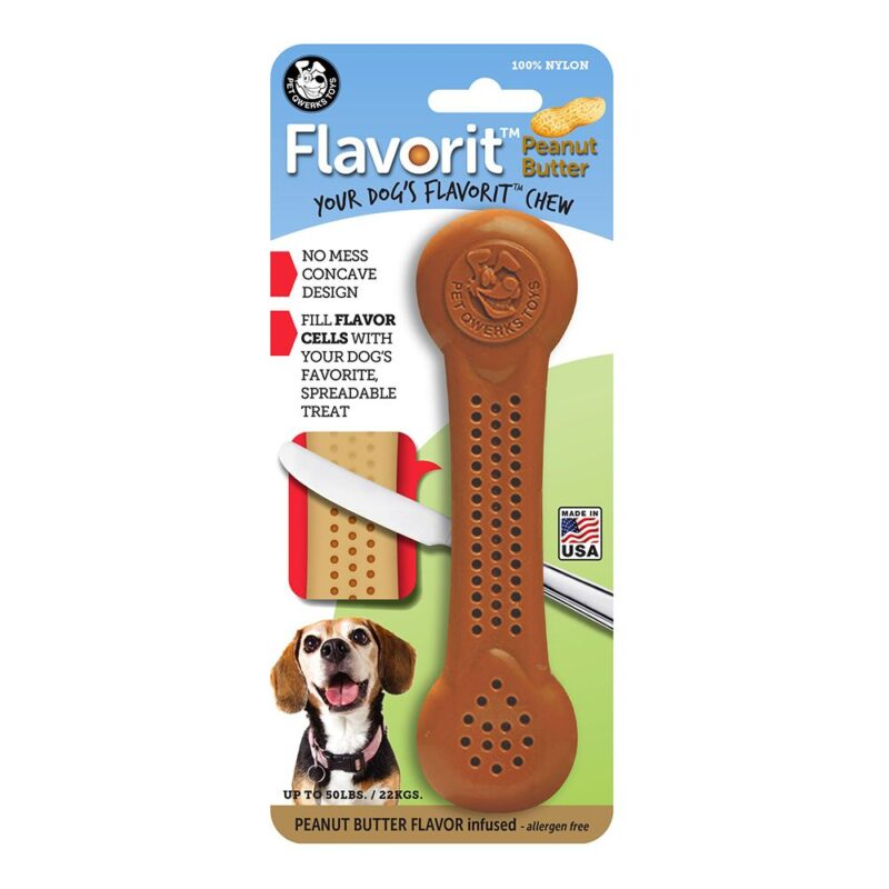 Flavorit Peanut Butter Flavoured Nylon Dog Bone Large