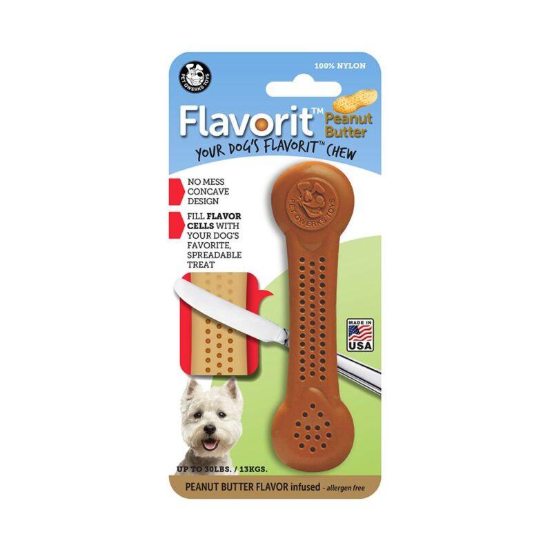 Flavorit Peanut Butter Flavoured Nylon Dog Bone Medium