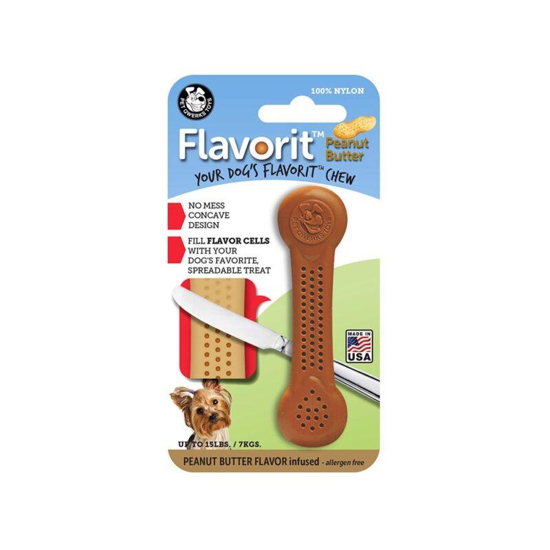 Flavorit Peanut Butter Flavoured Nylon Dog Bone Small