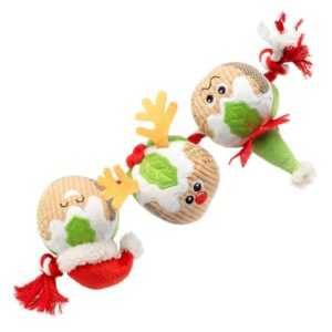 House of Paws 3x Christmas Pudding on a Rope Dog Toy