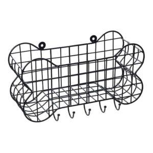 House of Paws Bone Shaped Wall Storage Basket with Dog Lead Hooks Large