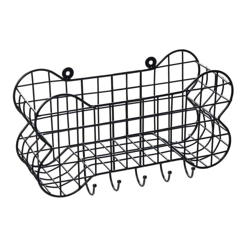 House of Paws Bone Shaped Wall Storage Basket with Dog Lead Hooks Large