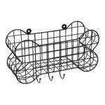 House of Paws Bone Shaped Wall Storage Basket with Dog Lead Hooks Small