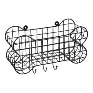 House of Paws Bone Shaped Wall Storage Basket with Dog Lead Hooks Small