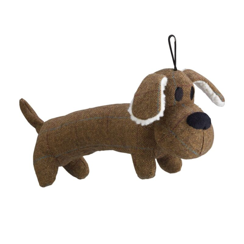 House of Paws Brown Tweed Long Body Dog Squeaky Dog Toy