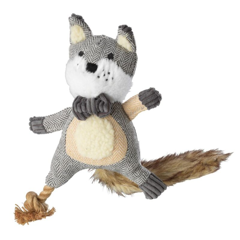 House of Paws Bushy Tail Carry Rope Tweed Fox Dog Toy