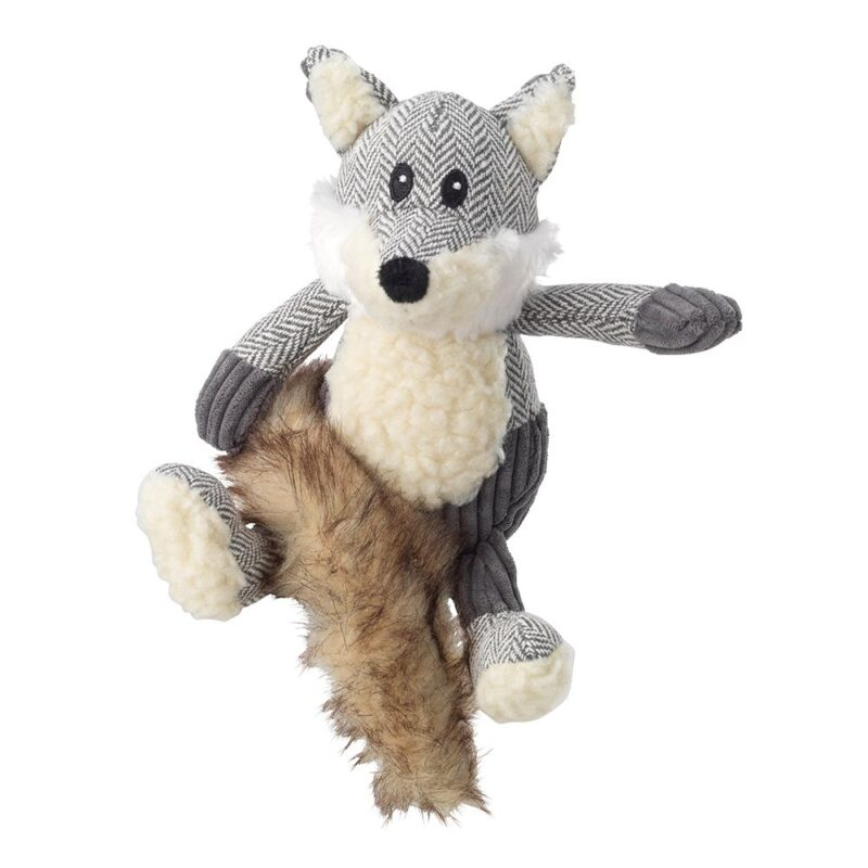 House of Paws Bushy Tail Tweed Fox Dog Toy