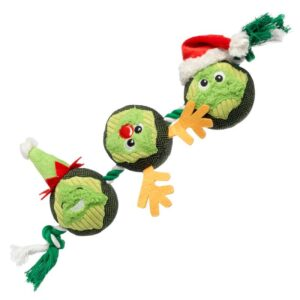House of Paws Christmas 3x Brussel Sprouts on a Rope Dog Toy