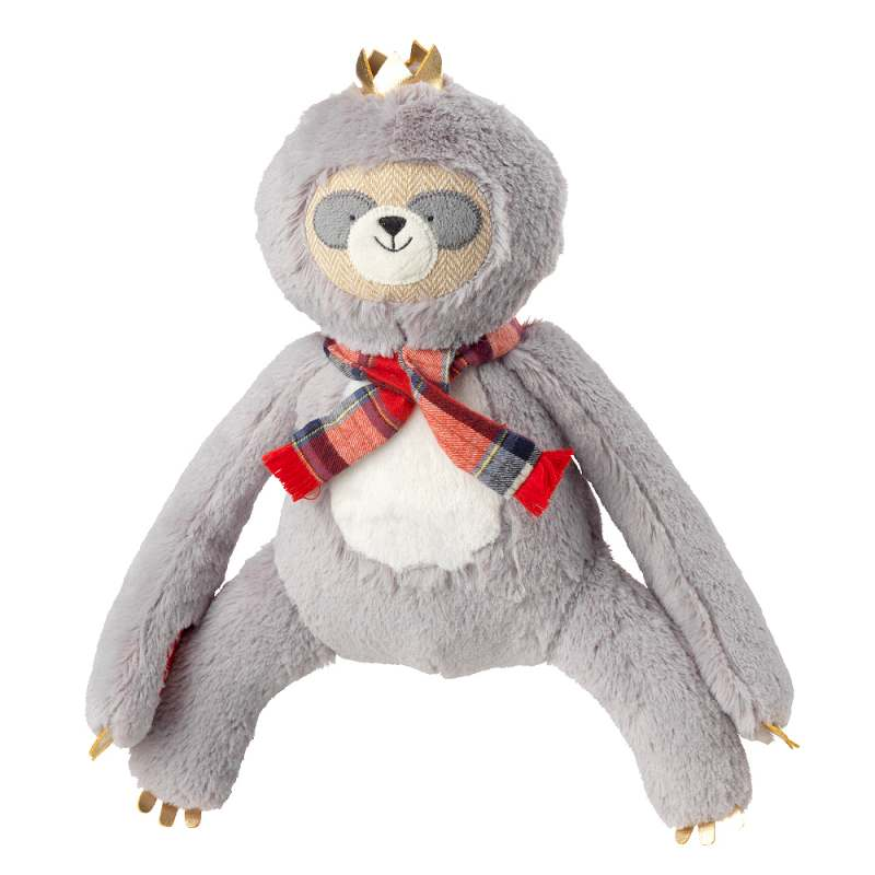 House of Paws Christmas Majestic Crown Plump Plush Sloth Dog Toy