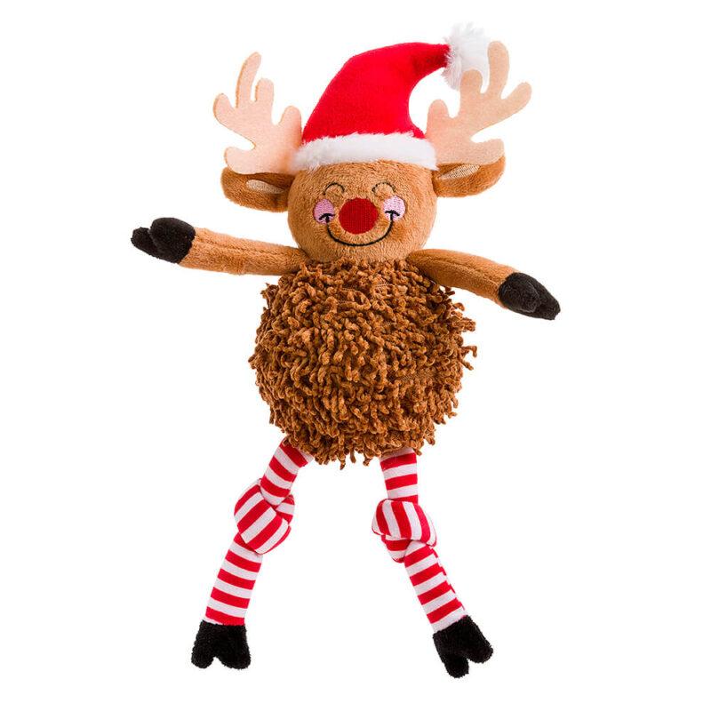 House of Paws Christmas Pom Pom Rudolph Dog Toy