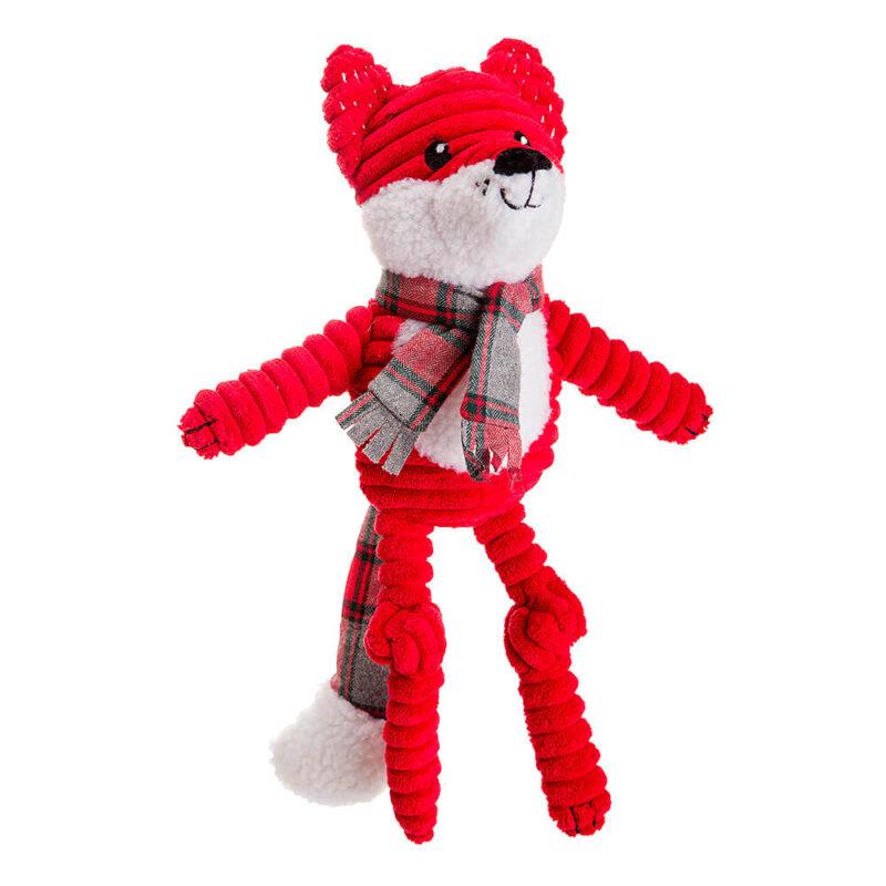 House of Paws Christmas Red Jumbo Cord and Tweed Fox Dog Toy