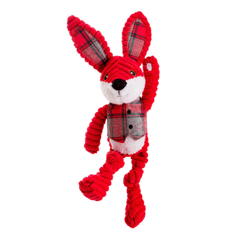 House of Paws Christmas Red Jumbo Cord and Tweed Hare Dog Toy