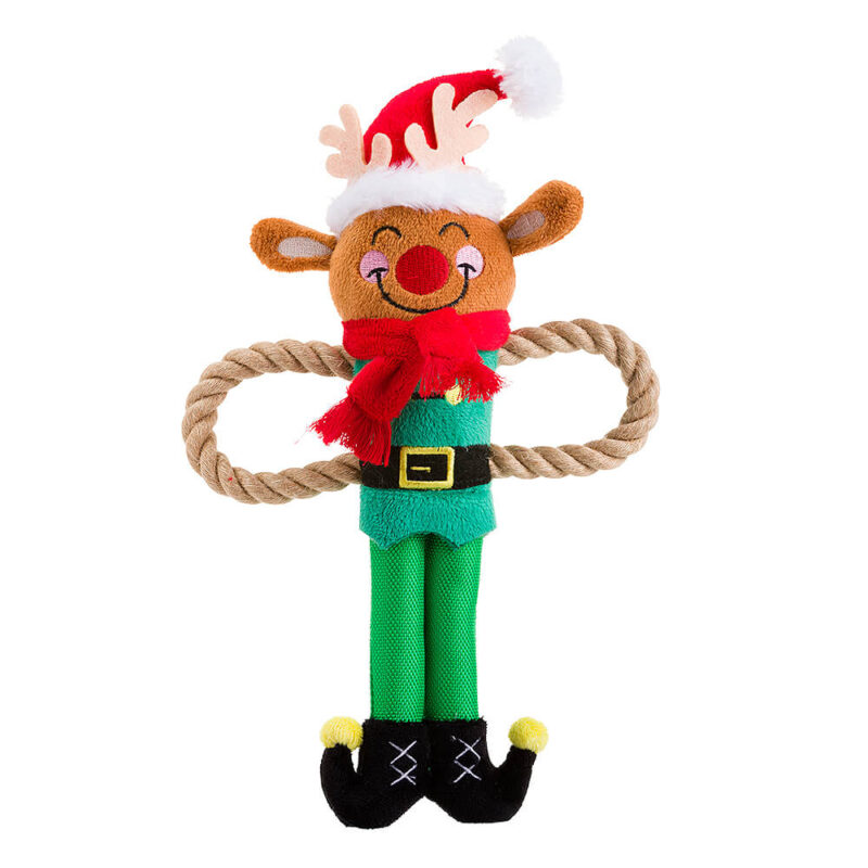 House of Paws Christmas Rudolph Rope Arm Dog Toy