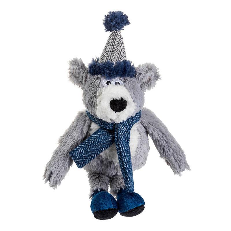 House of Paws Christmas Winter Teal Polar Bear Dog Toy