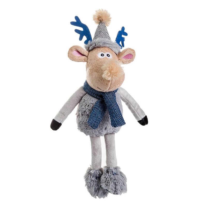House of Paws Christmas Winter Teal Rudolph Dog Toy