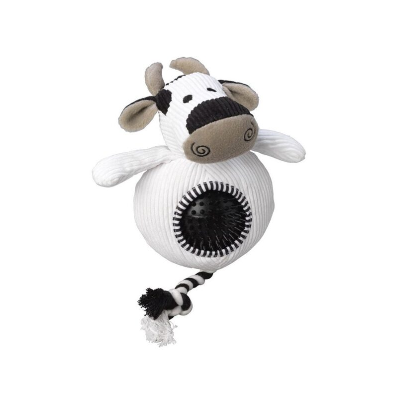 House of Paws Cord Cow Dog Toy with Spiky Ball
