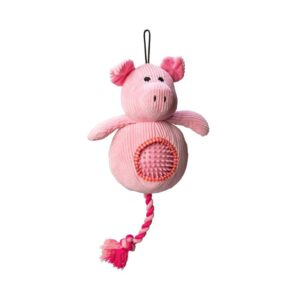 House of Paws Cord Pig Dog Toy with Spiky Ball