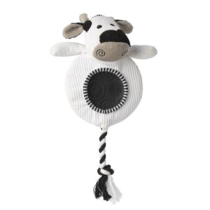 House of Paws Cow Flatty Cord Dog Toy