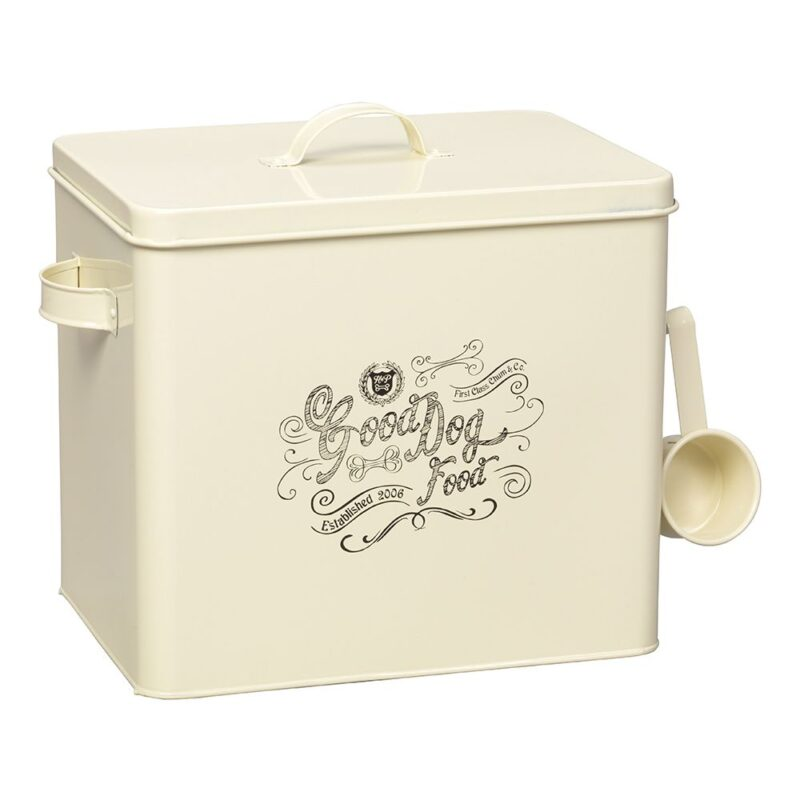 House of Paws Good Dog Food Storage Tin with Scoop - Cream Large