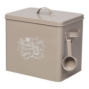 House of Paws Good Dog Food Storage Tin with Scoop - Grey Large