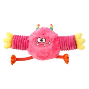 House of Paws Monster Fun Tennis Ball Roller Pink Dog Toy